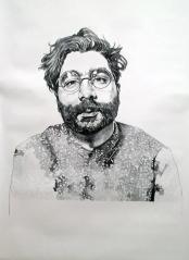 Portrait of Josh Vettivelu, 2016, 12 ft x 6ft, Graphite on Paper