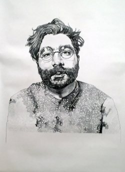 Portrait of Josh Vettivelu, 2016, 12 ft x 6ft, Graphite on Paper