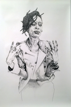 Portrait of QueenTite Opaleke, 2016, 12 ft x 6ft, Graphite on Paper