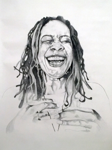 Portrait of Thandi Young, 2016, 12 ft x 6ft, Graphite on Paper